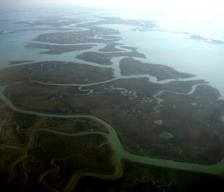 Aerial-view-of-Venetian-lagoon-Venice-Veneto-Italy